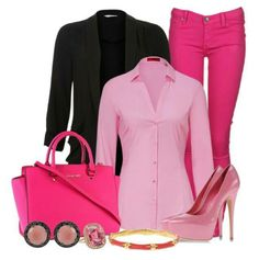 A fashion look from May 2013 featuring button down blouse, open front jacket and pink jeggings. Browse and shop related looks. Classy Work Outfits, Classic Outfits, Cool Outfits, Casual Outfits, Fashion Outfits, Womens Fashion, Fashion Trends, Classic Clothes, Style Work