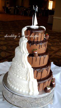 chocolate vanilla wedding cake. great idea!