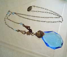 "Antique Lavalier Necklace Edwardian Etched Blue Glass Pendant 17"" Chain with Blue Crystal Beads"