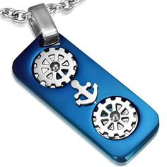 1 Pendant - Blue Anodized Steel marine anchor helm wheel audio tape design pendant - ST003B