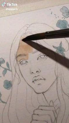 Cool Art Drawings, Colorful Drawings, Art Drawings Sketches, Watercolor Illustration, Watercolor Paintings, Arte Sketchbook, Hippie Art, Diy Canvas Art, Art Tutorials