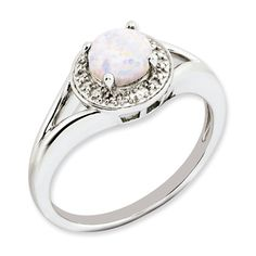 Gemologica Round Opal October Birthstone Diamond Sterling Silver Ring - A lovely gemstone is surrounded by diamonds to create an eye-catching look. The ring contains a Clean Gold Jewelry, Silver Jewelry, Prom Jewelry, Jewelry Logo, Jewelry Shop, Diamond Stone, Diamond Rings, Diamond Jewelry, Opal Rings