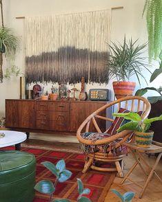 When modern bohemian fiber artist meets vintage loving home interior guru, magic happens. Bohemian House, Bohemian Interior, Bohemian Decor, Modern Bohemian, Eclectic Decor, Home And Living, Living Room, Decoration, Sweet Home