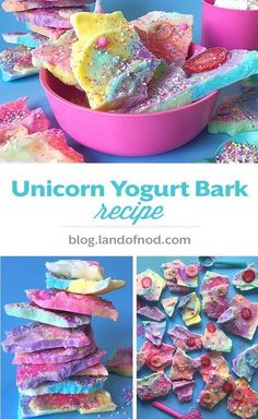 Our Unicorn Yogurt Bark Recipe is perfect for a unicorn themed party and it is a healthy snack, healthy dessert option for kids. Recipe on blog.landofnod.com