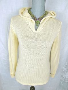 EILEEN FISHER Sweater P M  PM Yellow Cotton Hooded Pullover Resort Wear Knit Top #EileenFisher #Hooded