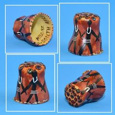 South Africa hand painted signed thimble.