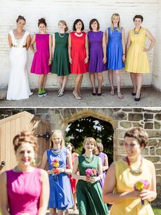Marquee Wedding In East Sussex Bride In Self Designed Gown Made By Angela Webber With Gold Matthew Williamson Belt Bright Coloured 50s Style Bridesmaids Dresses Images by Andrew Marshall 0007