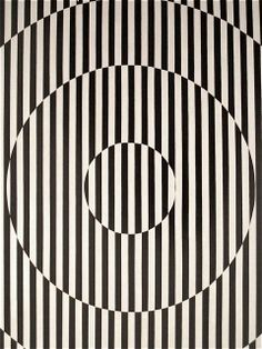 "Rakuko Naito,  American, 1935-.  ""Black and White Stripe - Circle""  1965.  Acrylic on linen  (Detail)."