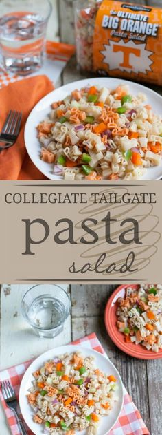 Collegiate Tailgate Pasta Salad | What better way to build team spirit than to have your logo on your plate?! Check out The Pasta Shoppe's Collegiate Pasta line! | WorldofPastabilities.com