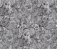 temptation - white lace on a black ground fabric by annosch on Spoonflower - custom fabric