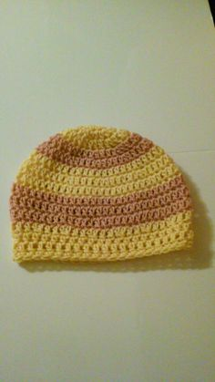 Crochet Hats, Rose and Light Gold Crochet Beanie, Slouchy Beanie, Crochet Slouchy Hat, Striped Hats, Winter Hats, Ready to Ship (#25-526) by NoreensCrochetShop on Etsy