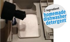 Looking to make your own dishwasher detergent?  Try this recipe which uses only 2 ingredients!