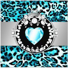 teal leopard print - teal diamond center - tiara - uploaded by Lynn White
