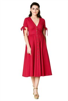 I <3 this Tie-cuffs cotton knit banded empire shirtdress from eShakti