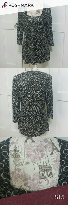 """Susan Lawrence Top. Black with grey & white circles & shiny silver specks with a shimmery sheen. Square neckline  3/4 sleeves  Pleating on front 92 poly 8 spandex 28"""" long  19"""" armpit to armpit lying flat Excellent condition, like new. Susan Lawrence  Tops"""