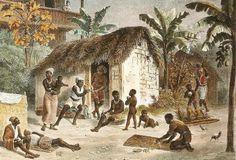 Este pinturas mostram a vida de famílias escravas brasileiras. Foi feito pelo pintor alemão Johann Moritz Rugendas (1802-1858). Vemos cabanas de escravos perto da casa de seus donos em uma plantação de açúcar. Rugendas trabalhou no Brasil durante 1821-1825.