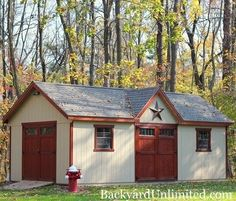Victorian Shed with Transom Doors, Window Trim, Ramp, Additional Double Doors and Roll Ridge Vent Garden Shed Greenhouse Ideas, Outdoor Buildings, Outdoor Structures, Victorian Sheds, Amish Sheds, Backyard Retreat, Backyard Ideas, Ridge Vent, Sheds For Sale