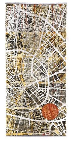 Textile/quilt work 'Urban fragments' map art quilt by Eszter Bornemisza for Voices quilt art exhibition at the Devon Guild of Craftsmen jan-Feb Map Quilt, Quilt Art, Map Projects, Art Carte, Textiles Techniques, A Level Art, Contemporary Quilts, Textile Artists, Map Art