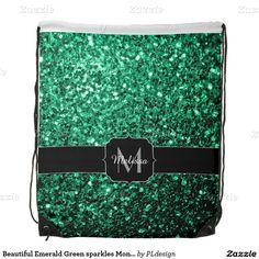 Emerald Green glitter sparkles Monogram Cinch Bag (Drawstring Backpack) by #PLdesign #GreenSparkles #SparklesGift