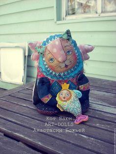 Коллекционные куклы ручной работы. Ярмарка Мастеров - ручная работа. Купить Кот Баюн, с золотой рыбкой. Handmade.…