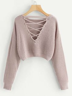 Shop Lace-Up V Back Crop Jumper online. SheIn offers Lace-Up V Back Crop Jumper & more to fit your fashionable needs. Girls Fashion Clothes, Teen Fashion Outfits, Girl Fashion, Fashion Black, Chunky Knit Jumper, Cropped Knit Sweater, Pink Sweater, Cropped Jumpers, Cute Jumpers