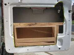 How to guide about building cabinets for installation in the doors of a van conversion. Mercedes Vito Camper, Stealth Camper Van, Motorhome, Ford Transit Connect Camper, Camper Van Kitchen, Luxury Campers, Rv Campers, Van Organization, Van Racking