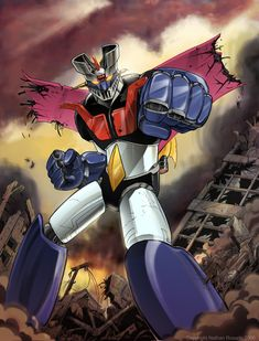 Mazinger Z, also known as Tranzor Z in the United States, is a fictional Super Robot in the manga and aime series of the same name. It is an enormous Super Robo Old School Cartoons, Old Cartoons, Classic Cartoons, Robot Cartoon, Japanese Robot, Mecha Anime, Super Robot, Cartoon Shows, Anime Comics