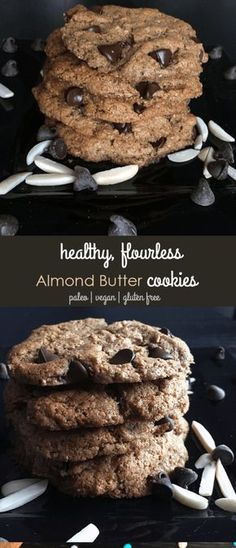 Looking for a flourless healthy vegan cookie? Try these Paleo vegan almond butter chocolate chip cookies - This six ingredient easy to make paleo almond butter chocolate chip cookie recipe is flourless (naturally gluten free), eggless (it's vegan!), and has no butter or oil, and is refined sugar free, with minimal coconut sugar for those limiting their sugar intake. These cookies are perfect for a healthier dessert or snack! #glutenfree #vegan #healthy #paleo