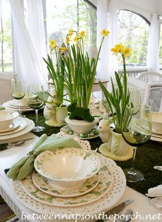 Spring Easter Table Setting with Daffodil and Moss Centerpiece | http://betweennapsontheporch.net/spring-easter-table-setting-with-daffodil-and-moss-centerpiece-welcome-to-the-187th-tablescape-thursday/