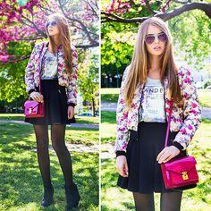 Stradivarius Floral Bomber, Alexander Wang Skirt, Louis Vuitton Bag