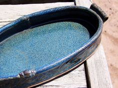 9 inch Oval Casserole. Baking Dish. Bake and Serve. Serving Tray. Shallow. Slab-built, Hand-made. Ceramic. Shimmery Blue.