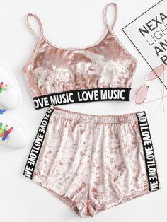 3418750061a79 Printed Tape Detail Crushed Velvet Lingerie Set