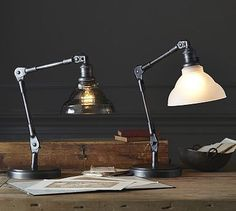 Sidney Vintage Task Table Lamp #potterybarn Great looking task lighting at Pottery Barn this season.