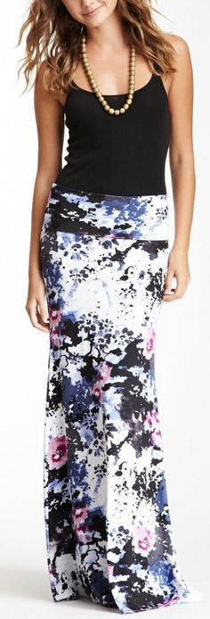 Fold over floral maxi skirt