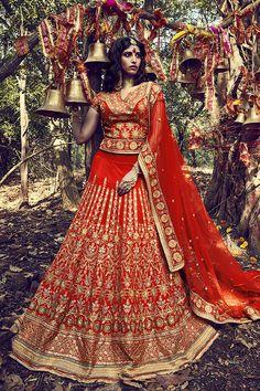 Reddish Orange Color Taffeta Fabric Lehenga Choli