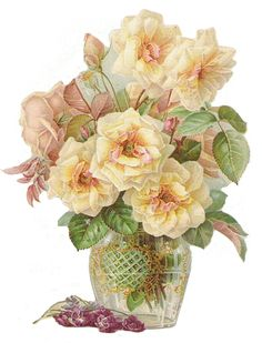 Rosen in Vase - Roses in Vase - Roses dans un vase Vintage Cards, Vintage Images, Vasos Vintage, Friendship Flowers, Flower Sketches, Floral Printables, Vase, China Painting, Decoupage Paper