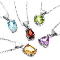 """Sterling Silver Peridot, Garnet, Amethyst, Blue Topaz and Citrine Pendant Set, 18"""" (Jewelry)  http://www.1-in-30.com/crt.php?p=B001TH7JZC  B001TH7JZC"""