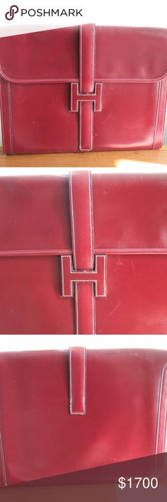 Hermes Clutch in burgundy Great envelope/clutch perfect as an evening purse/envelope. Great size because its big enough to fit all the necessary documents, phone, make up etc. and still look stylish Hermes Bags Clutches & Wristlets