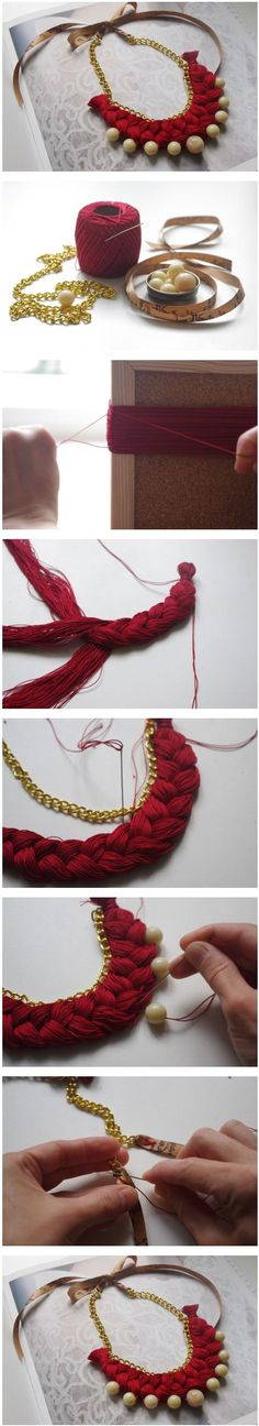 Diy Jewelry Ideas : como hacer collares manualidadesrecic… -Read More – Textile Jewelry, Fabric Jewelry, Beaded Jewelry, Fabric Necklace, Diy Necklace, Necklaces, Braided Necklace, Collar Necklace, Bracelets
