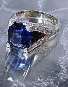Cushion-cut, royal, extra-fine 5 carat sapphire Robert Young original ring | $39,000 | RobertYoung.com