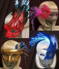Custom orders are encouraged! Create your own fiber optic, feather masquerade mask by Team Rainbow Designs! #glowing #accessory #masquerade #masks #feathers #fiberoptics
