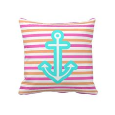 Multi Nautical Aqua Anchor Throw Pillow