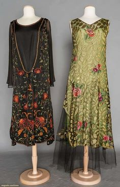 TWO TAMBOUR EMBROIDERED DRESSES, 1920s. New York City 1 green chiffon beneath black silk tulle w/ tambour embroidered Deco roses & green silk leaves, very good; 1 black satin w/ exotic coral blossoms & gold beads, chiffon sleeves.