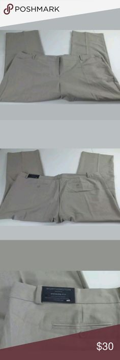 Worthington size 28 heather grey trouser pants worthington modern fit women size 28 rock ridge heather grey trouser dress pants  Sits at waist relaxed through hip and thigh  73% polyester 23% rayon 4% spandex Inseam about 32.5 inches Length about 44.5 inches   Location  From a pet and smoke free home Worthington Pants Trousers