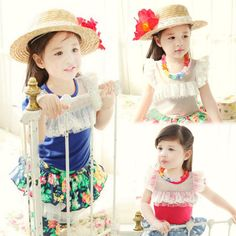 2015 Free Shipping Girls Summer Cute T shirt Baby Child Short Sleeve Lace Tops