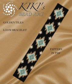 Bead loom pattern  Golden tiles LOOM bracelet pattern in PDF