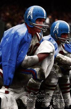 Houston Oilers, early '60s #nflfootballgames Nfl Football Players, Nfl Football Games, Vikings Football, Football Uniforms, School Football, Football Helmets, Sports Uniforms, Football Stuff, Team Uniforms