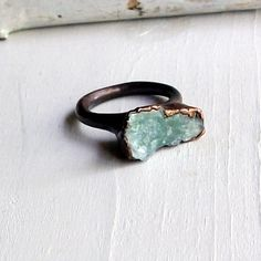 Copper Ring Aquamarine Ring Sky Blue Green Organic Raw Artisan Handmade. $70.50, via Etsy.