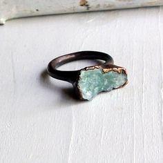 Copper Ring Aquamarine Ring Sky Blue Green Organic Raw Artisan Handmade. $70.50, via Etsy.