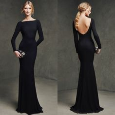 Find More Prom Dresses Information about Fashionable Boat Neckline Long Sleeve Black Mermaid Prom Dresses 2015 Sexy Backless Formal Evening Gowns Robe de soiree,High Quality gowns for fat women,China gown dress Suppliers, Cheap gown cocktail dress from xlbutterfly on Aliexpress.com